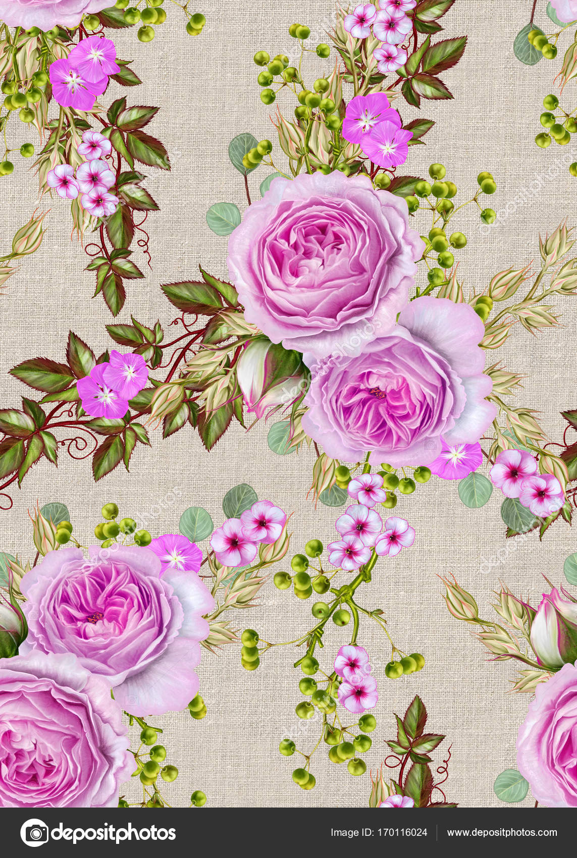 Patrón transparente floral. Arreglos florales, bouquet de bayas de ...
