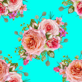 Fotografie Květinový vzor bezešvé. Květinové aranžmá, kytice z jemné krásné růžové růže, zelené bobule, listy.