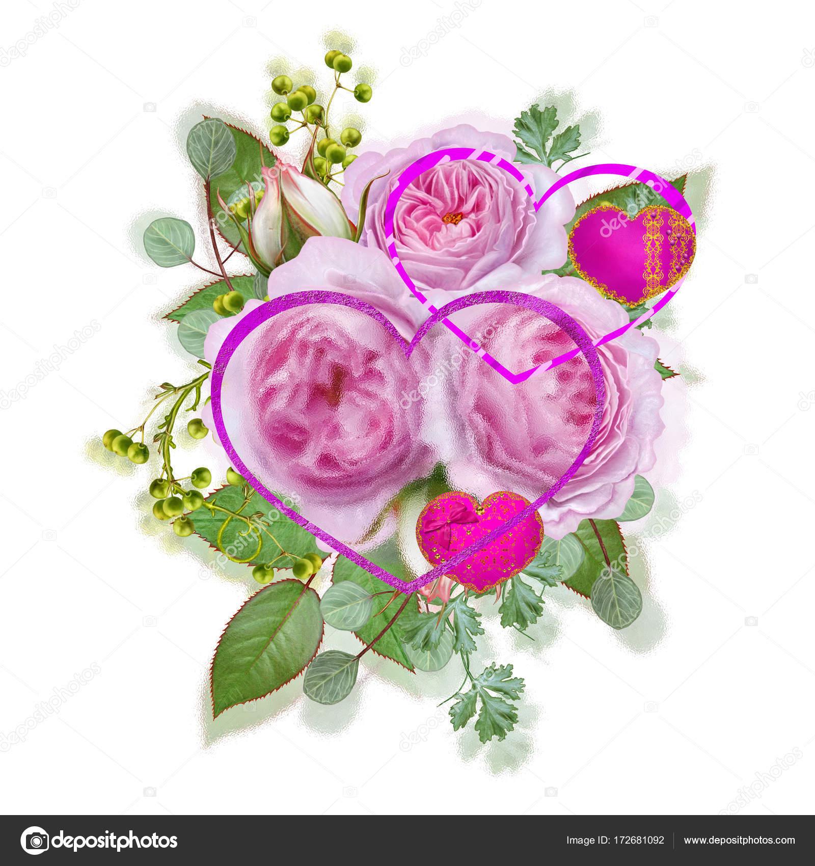 Открытка с благодарностью цветы и ягоды в букете 36