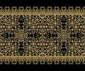 Seamless pattern. Golden textured curls. Oriental style arabesques. Brilliant lace, stylized flowers. Openwork weaving delicate, golden black background.