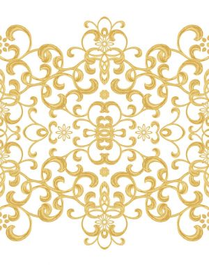 Seamless pattern. Golden textured curls. Oriental style arabesques. Brilliant lace, stylized flowers. Openwork weaving delicate, golden black background. stock vector