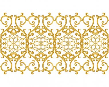 Seamless pattern. Golden textured curls. Oriental style arabesques. Brilliant lace, stylized flowers. Openwork weaving delicate, golden background. stock vector
