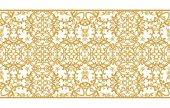 nahtloses Muster. goldene strukturierte Locken. Arabesken orientalischen Stils. Brillante Spitze, stilisierte Blumen. durchbrochenes Weben zarter, goldener Hintergrund.
