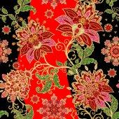 Varrat nélküli mintát. Arany mintás fürtök. Ragyogó csipke, stilizált virágokkal. Áttört finom, arany háttér, Paisley szövés.