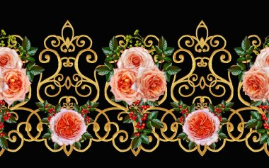 Pattern, seamless, floral border.Garland of flowers. Beautiful bright orange rose, buds, green leaves, rough cloth, canvas. Golden curls, shiny tracery weave. Vintage old background.
