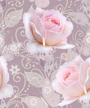 Seamless pattern. Decorative decoration, paisley element, delicate textured silver leaves made of thin lace and pearls, thread of beads, bud pastel pink rose, butterfly. Openwork weaving delicate.