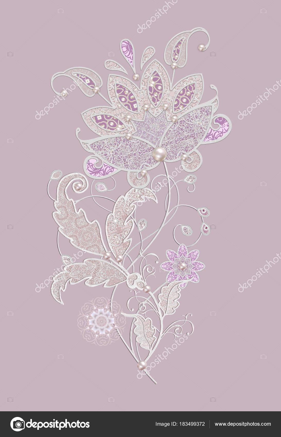 Decoración decorativa, elemento paisley, delicadas hojas de plata ...