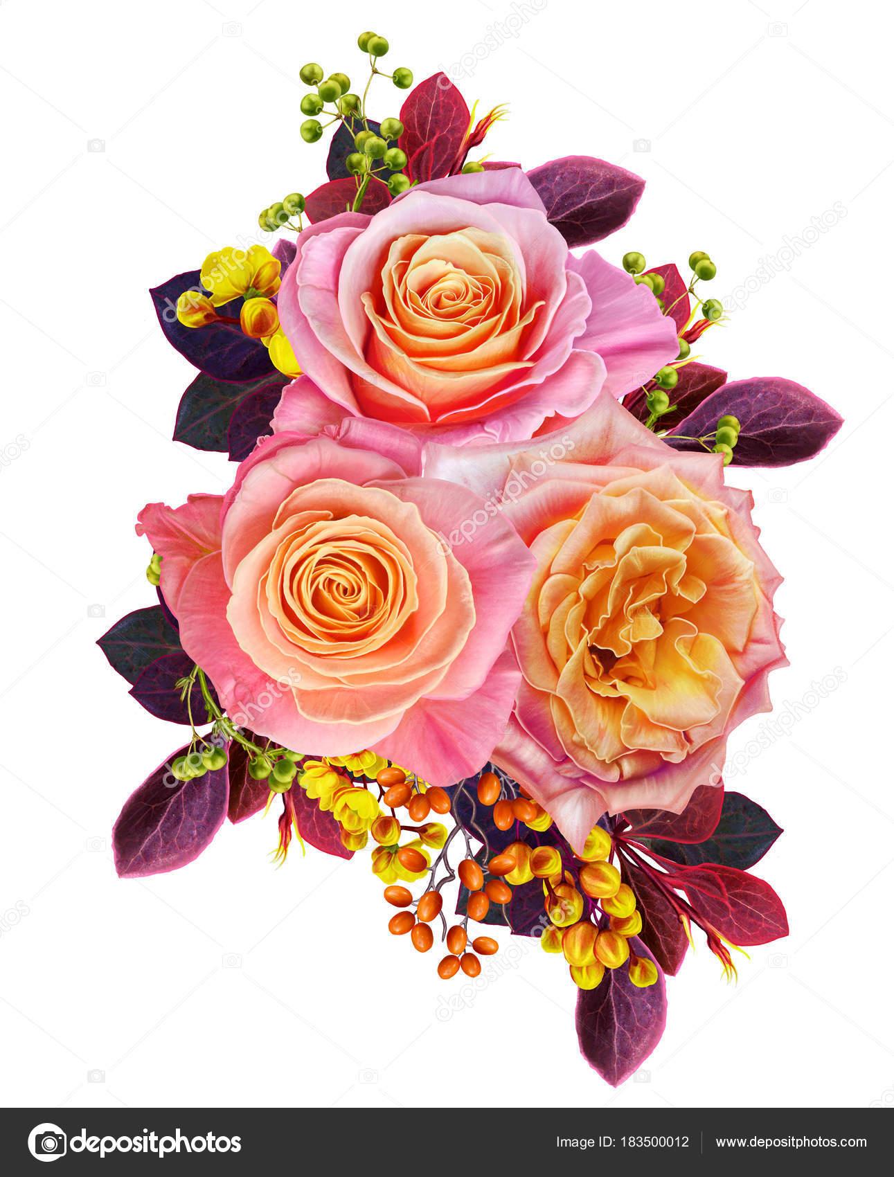 Открытка с благодарностью цветы и ягоды в букете 19
