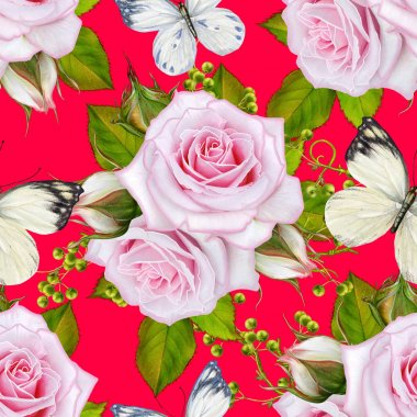 Seamless floral pattern. Bright leaves, openwork weaving, thin branches. Flower Arrangement, delicate pink roses and white butterflies