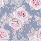 Vzor bezešvé. Dekorativní zdobení, paisley prvek, jemnou texturou stříbrné listy vyrobené z tenké krajky a perel, podproces korálky, bud pastelově růžové růže, klenotníka motýl přívěsek tkaní