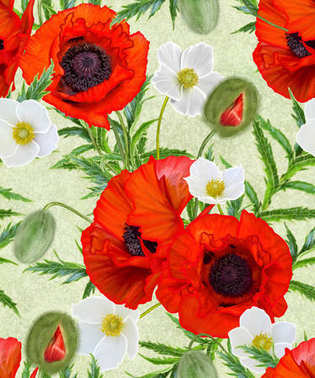 Flower pattern seamless. Red bright poppies, white flowers anemones, green leaves.