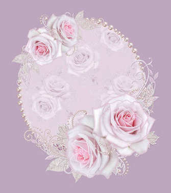 Decorative decoration, paisley element, delicate textured silver leaves made of fine lace and pearls. Jeweled shiny curls, thread from beads, bud pastel pink rose Oval pearl frame