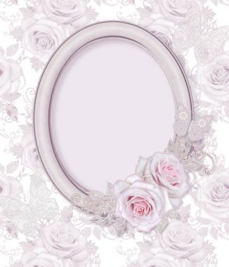 Oval picture frame. Flower composition of delicate pink roses, white leaves with elements of paisley, lacy curls, pearly bends.