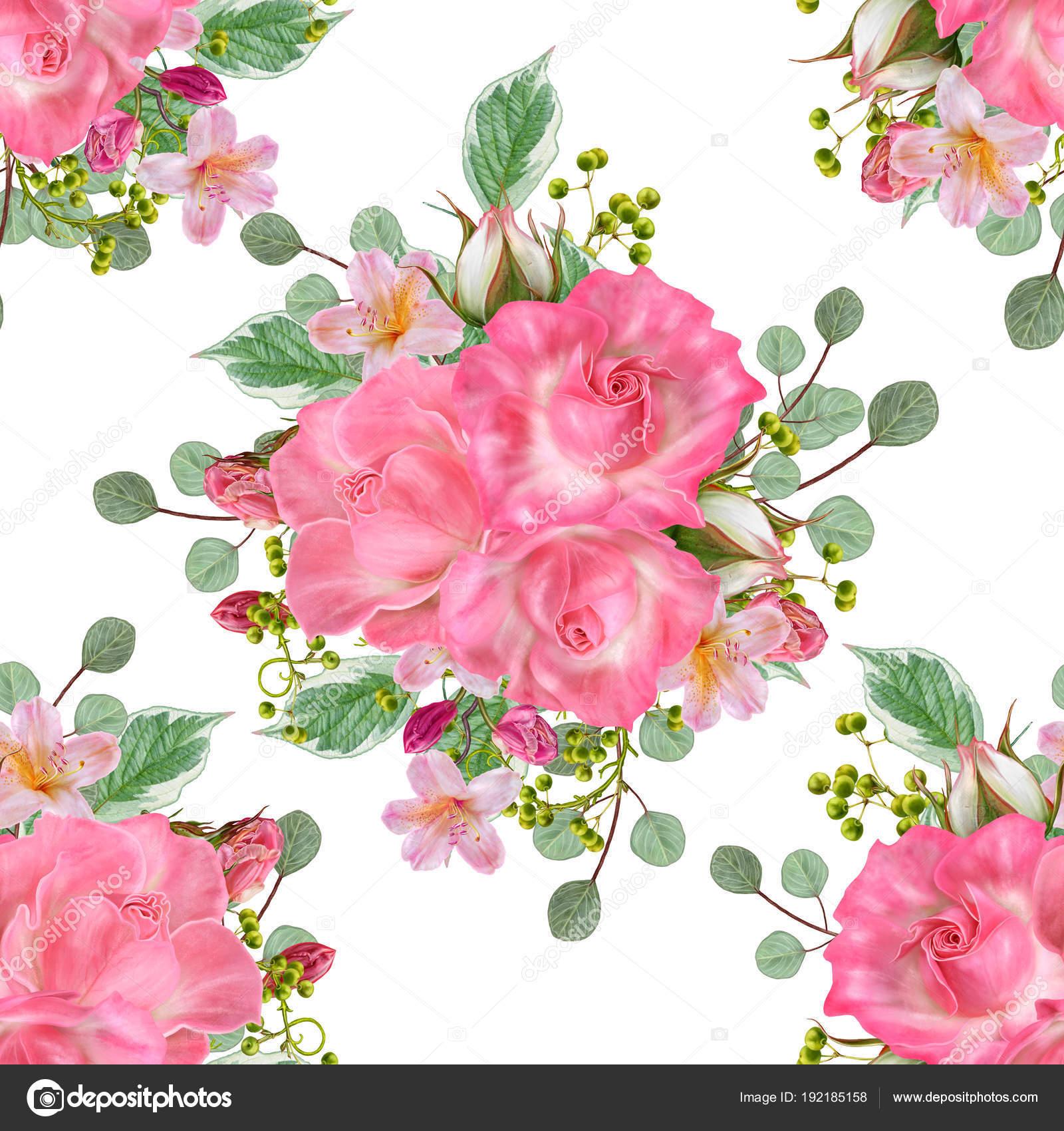 Patrón Transparente Floral Arreglos Florales Bouquet Bayas