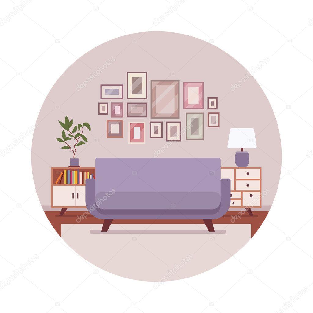 Retro Interieur Mit Einem Sofa Sideboard Bilder Stockvektor