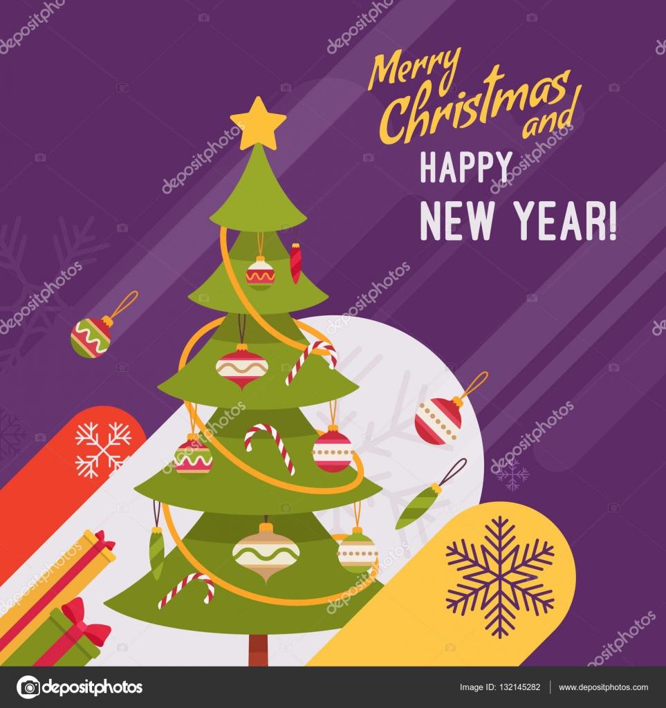 Silvester und Weihnachten Karte Vorlage — Stockvektor ...