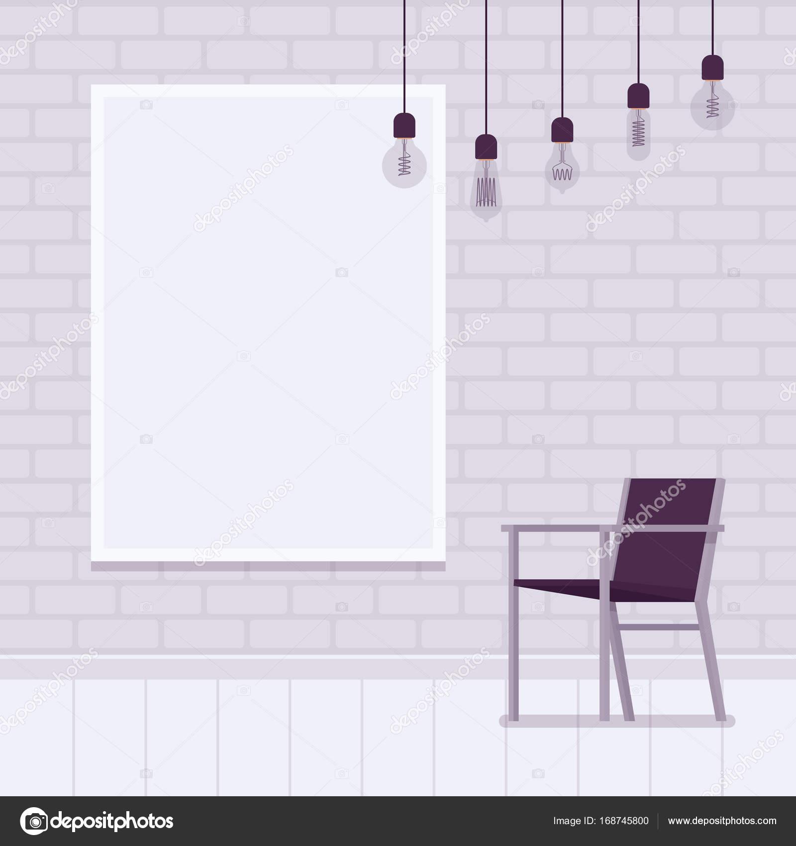 Loft-Innenraum mit weißem Backstein Wandrahmen für Exemplar ...