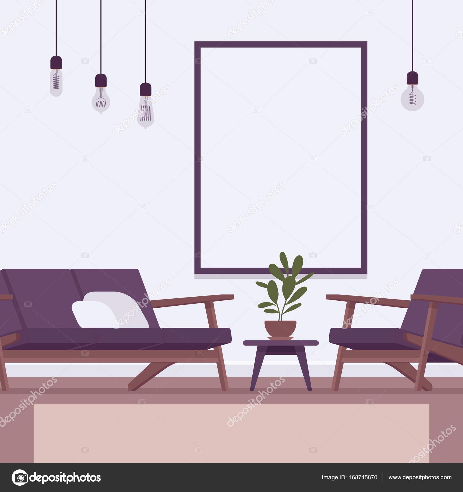 Retro Interieur Mit Wandrahmen Für Exemplar Stockvektor