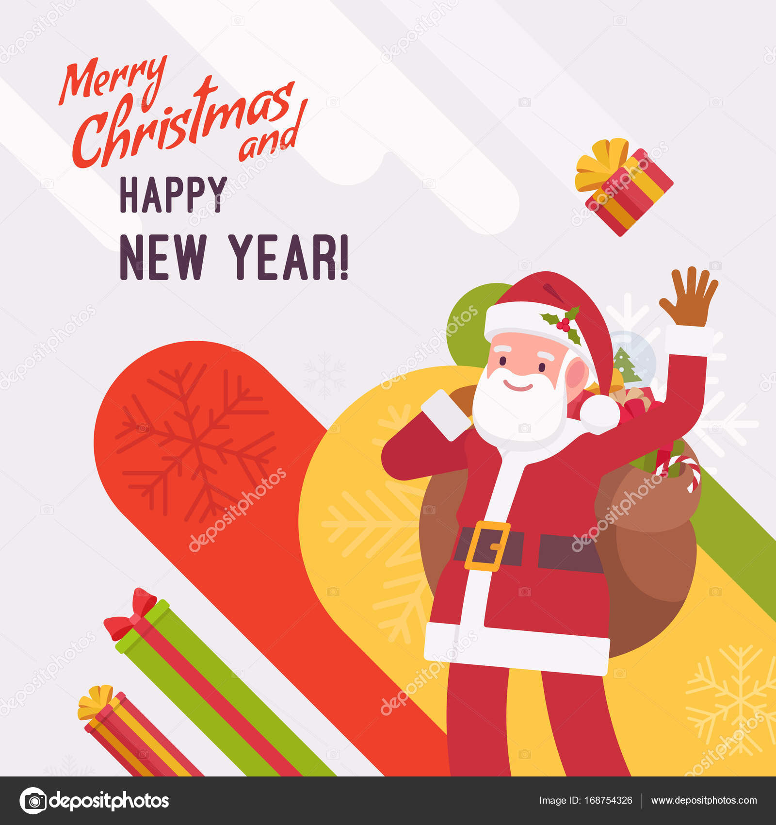 New Year And Christmas Card Template Stock Vector Andrewrybalko