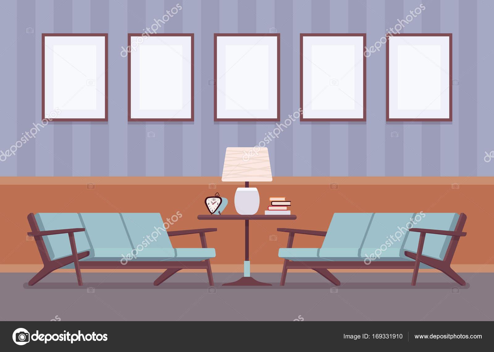 Retro-Interieur mit Sofas, Rahmen für Exemplar und Mock-up ...
