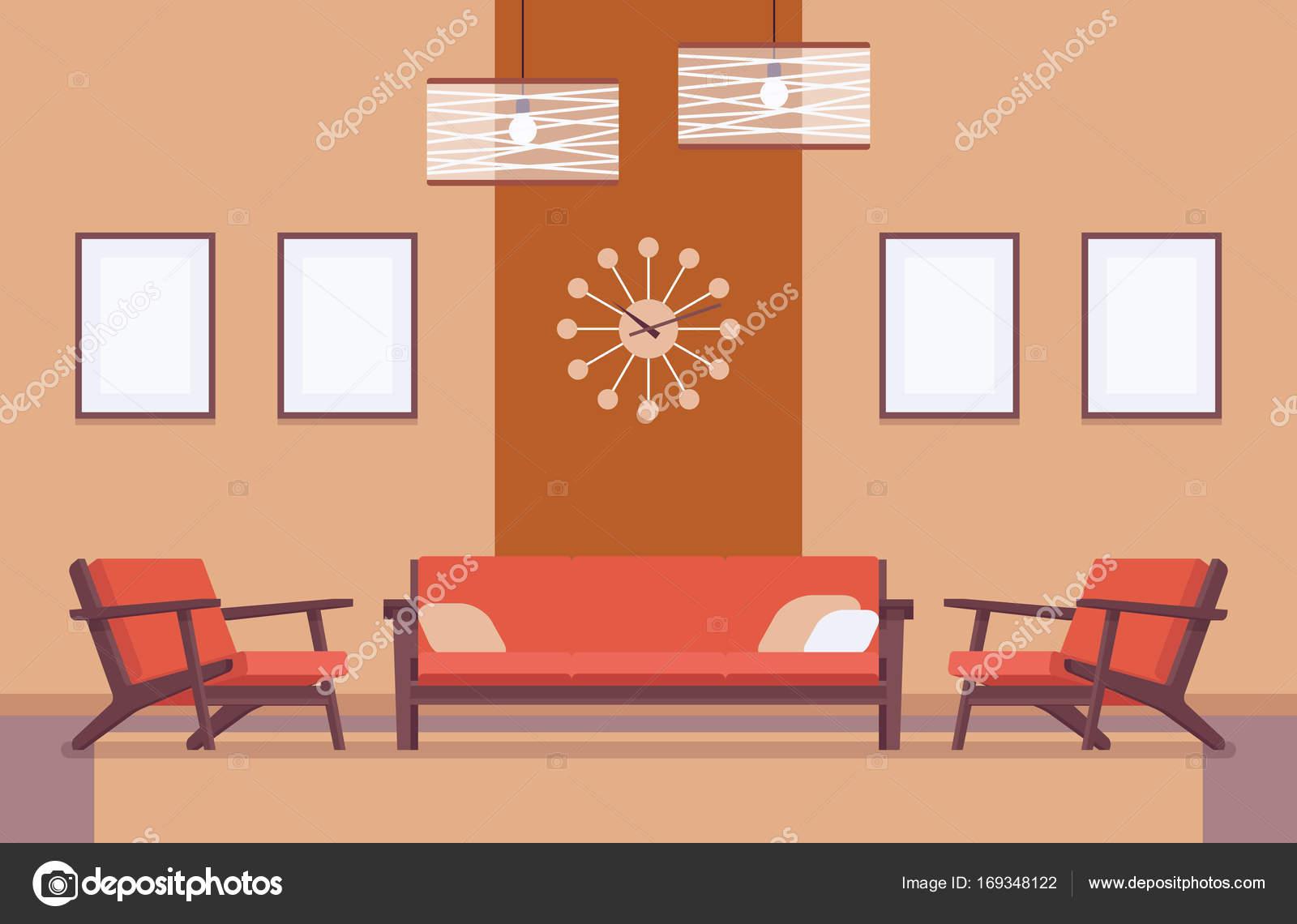 Retro-Interieur mit Sofa, Rahmen für Exemplar und Mock-up ...