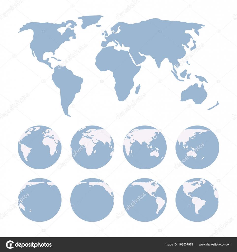 Erde Karte Rund.Welt Karte Zeigt Projektionsfläche Der Erde Und Globen Stockvektor