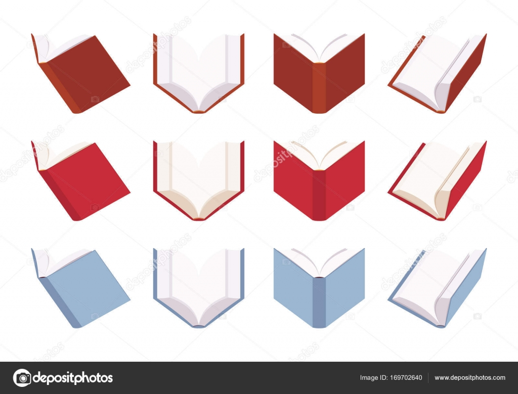 Set Of Open Empty Books In Red And Blue Color Stock Vector
