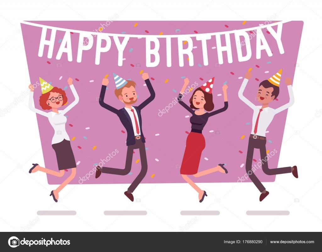 Alles Gute zum Geburtstag-Partei im Büro — Stockvektor ...