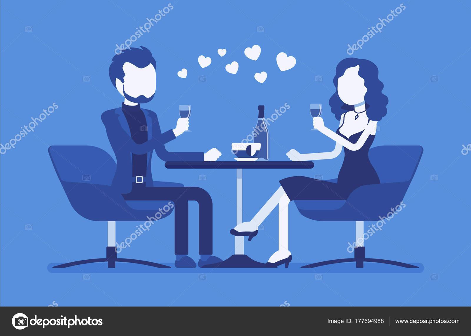 ロマンチックなデートをカップルします。 — ストックベクター