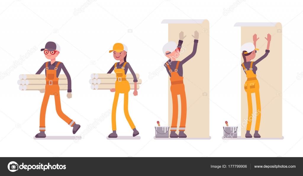 Satz Von Männlicher Und Weiblicher Arbeitnehmer Tragen Leuchtende Orange,  Gelbe Insgesamte, So Dass Reparaturen Innen, Arbeiten Mit Wänden, Tapeten  Zu ...