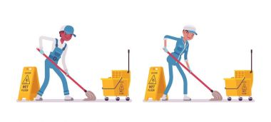 Set of male and female janitor mopping