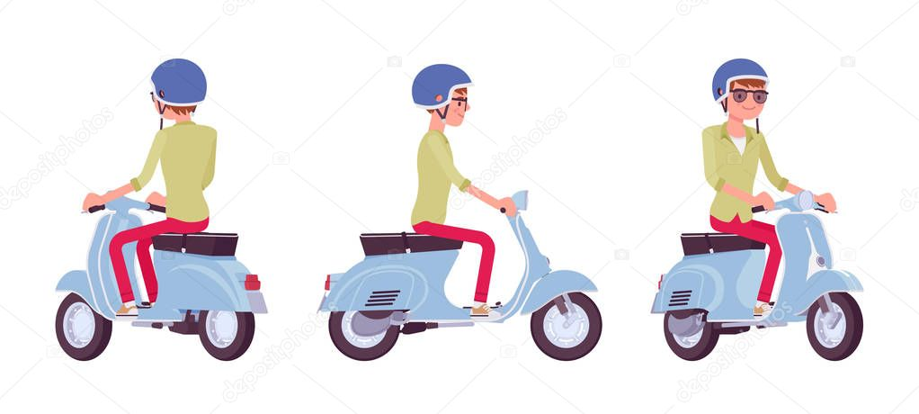 handsome young man riding a blue motorized scooter wearing helmet having great fun adventure and city job vector flat style cartoon illustration isolated white background front side rear view premium vector wdrfree
