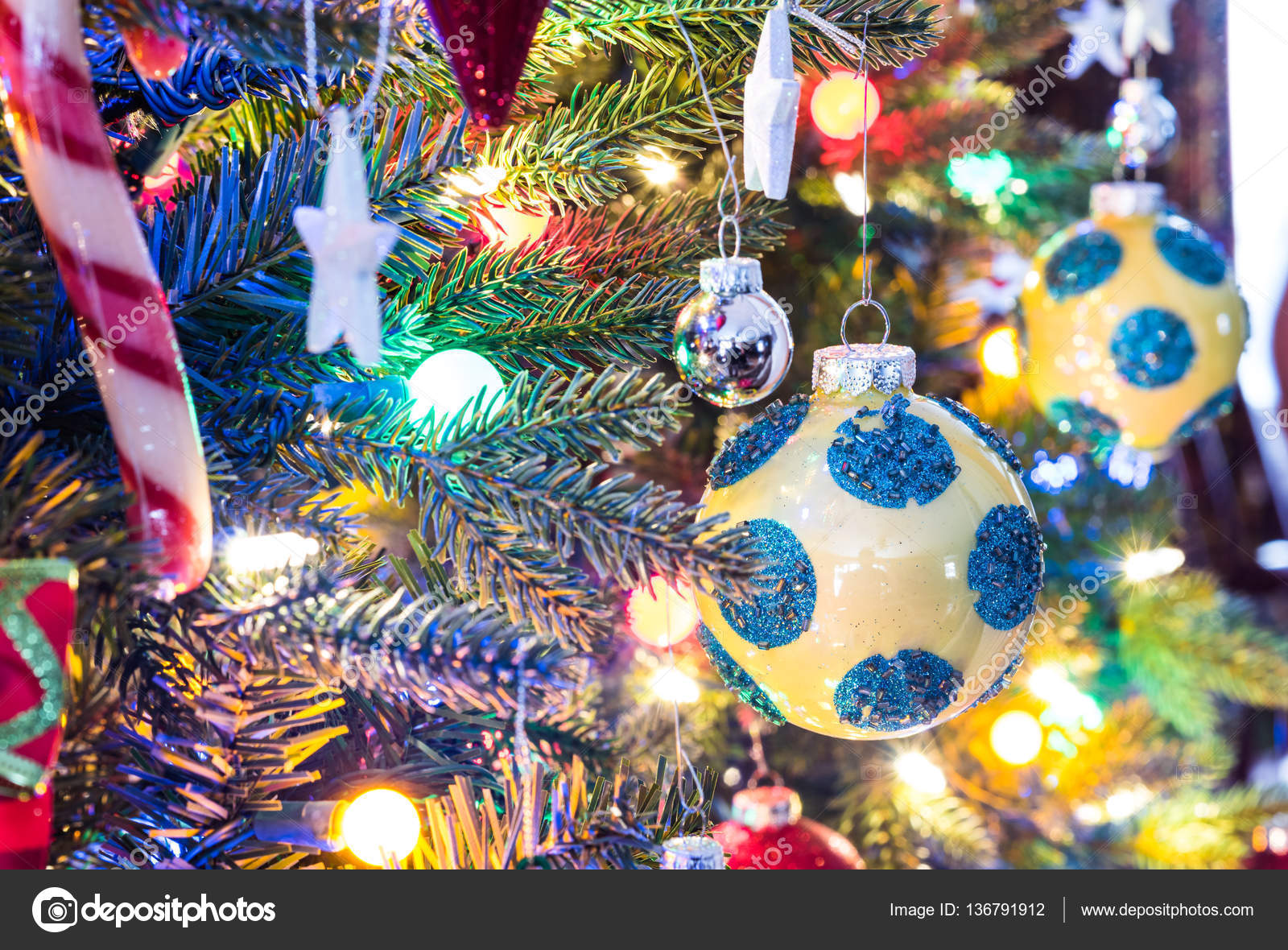 Colorful Christmas Tree Decorations.Holiday Season Christmas Tree Decorations Glow Under