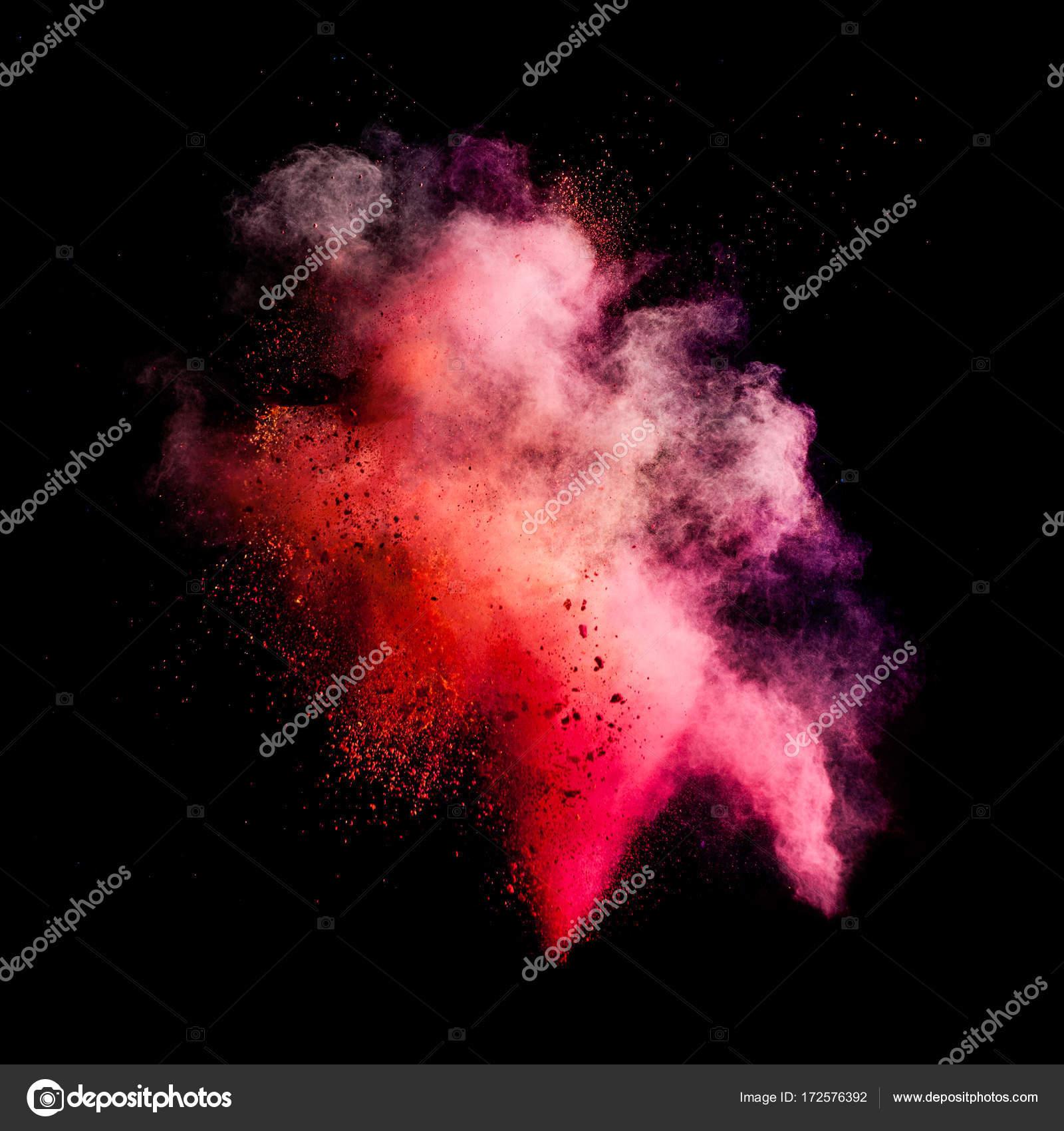 Congelar movimiento de explosión de polvo color — Foto de stock ...