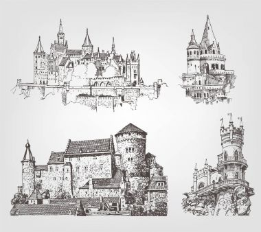 Vector old castle illustrations set. Countrysides on gothic fortress background. Hand drawn architectural landscapes. Sketches of ancient towers.
