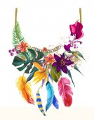 watercolor illustration with floral necklace