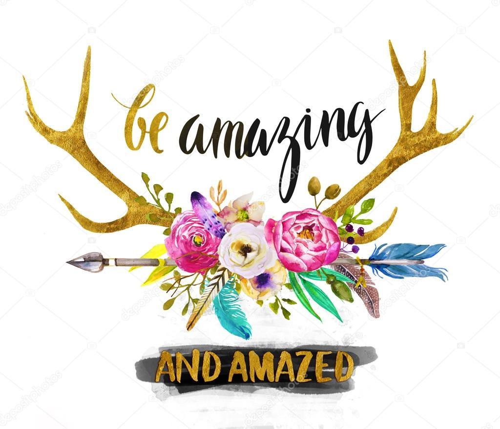 watercolor deer horns and flowers