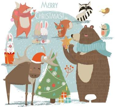 christmas set with wild animals