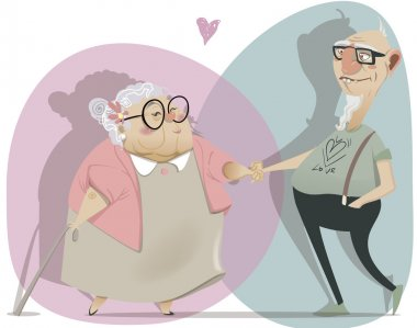 Old cartoon couple in love. vector illustration stock vector