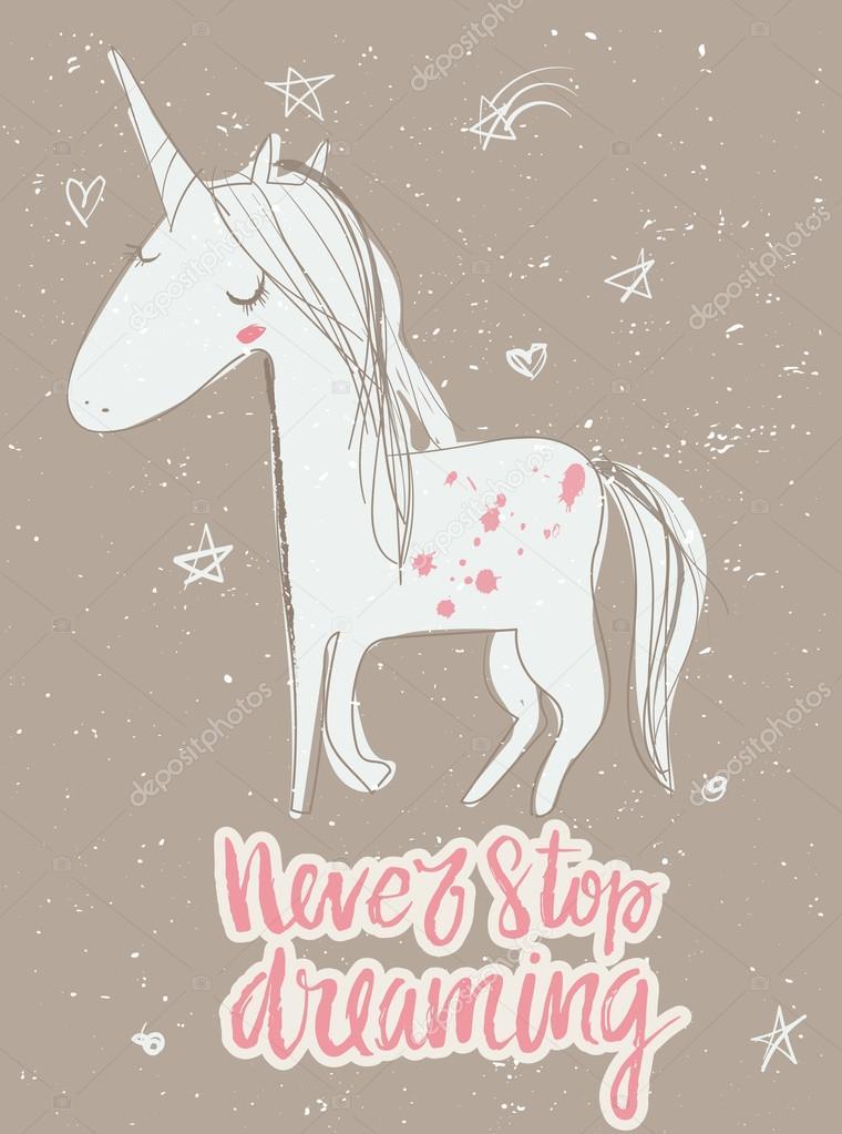 Unicornio de cuento de hadas de dibujos animados de color rosa ...