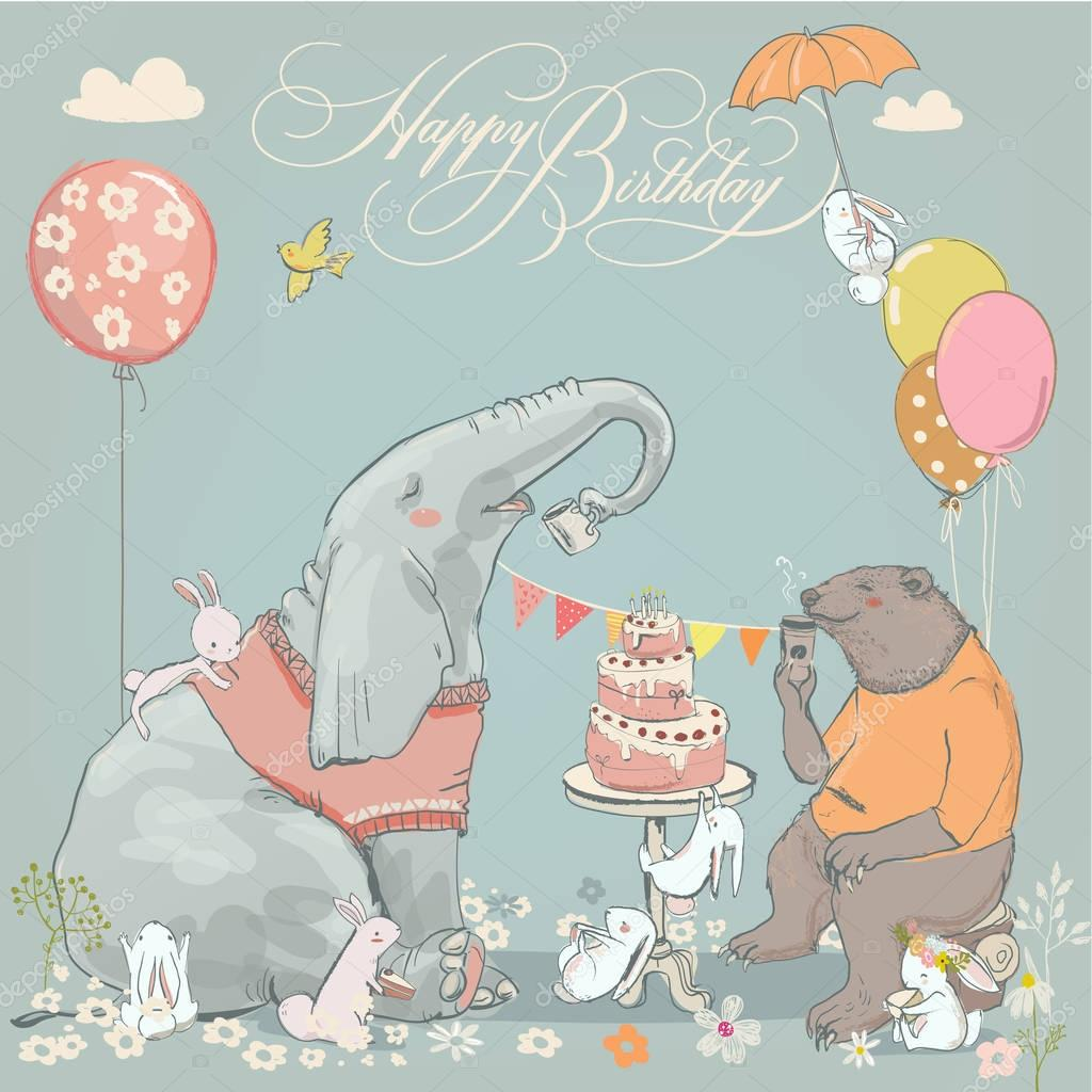 birthday card with cute bear, elefant and hares