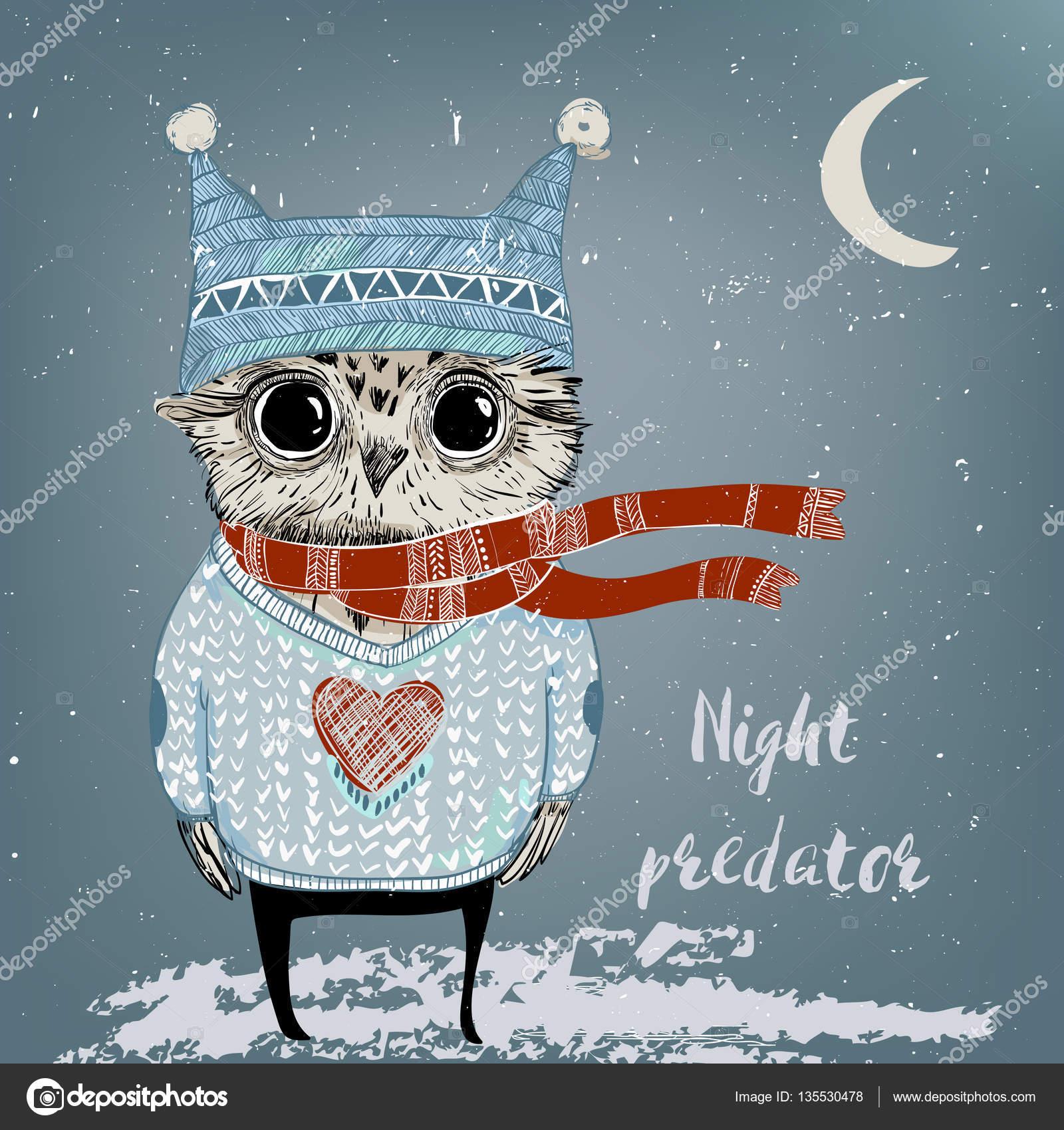507f4450236261 Ładna zima znak nocnym Markiem zimą zamyka — Wektor od Cofeee