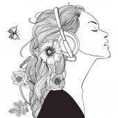 gyönyörű lány, fejhallgató