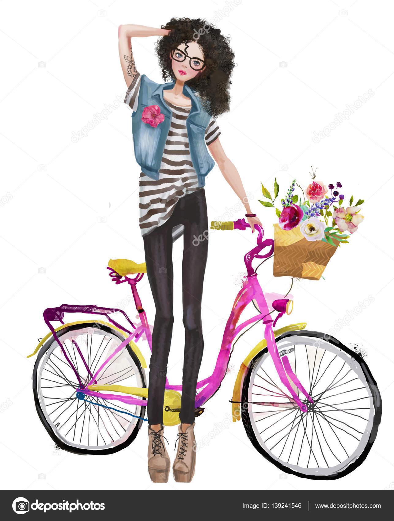 Imágenes: Chicas En Bicicleta Dibujo