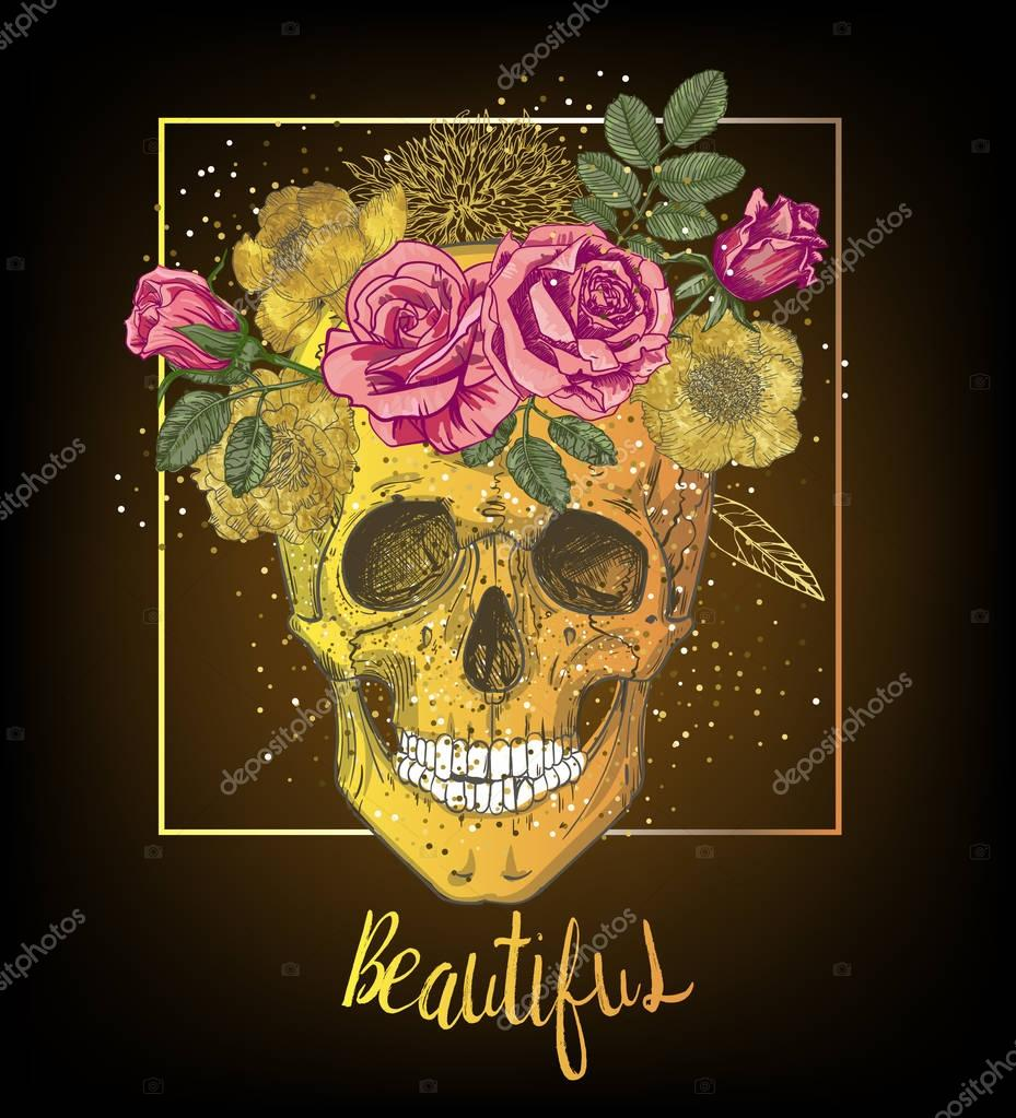 human skull with floral wreath