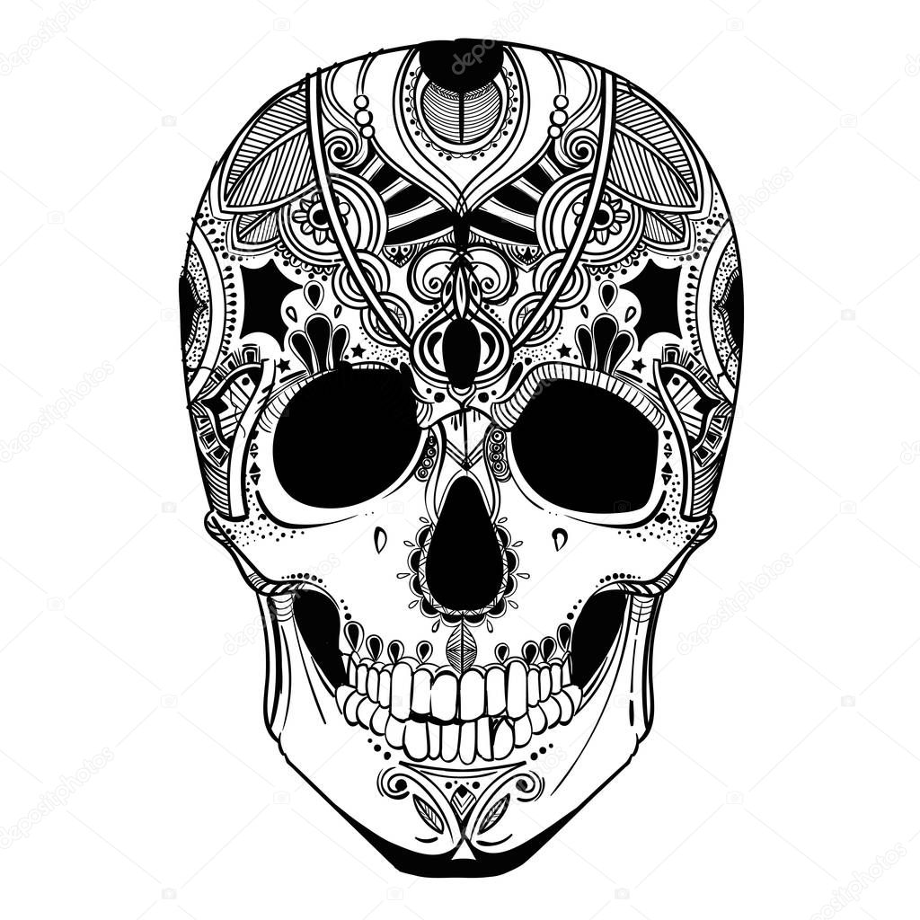 human skull with decorative elements