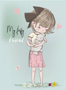 Cute portrait of little princess with black cat clip art vector