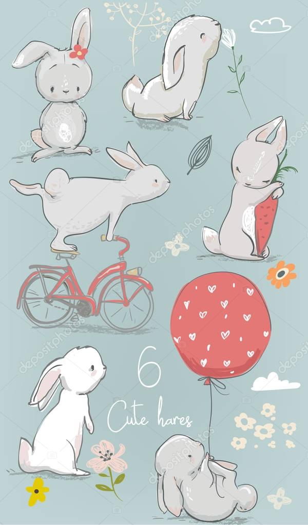 6 cute cartoon hares