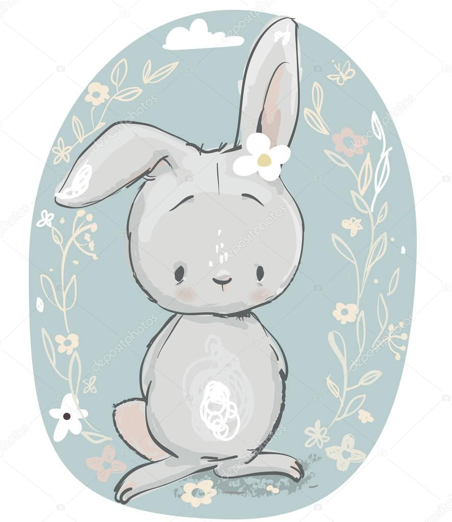 cute cartoon hare