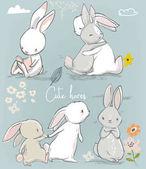 Fotografie 6 cute cartoon hares